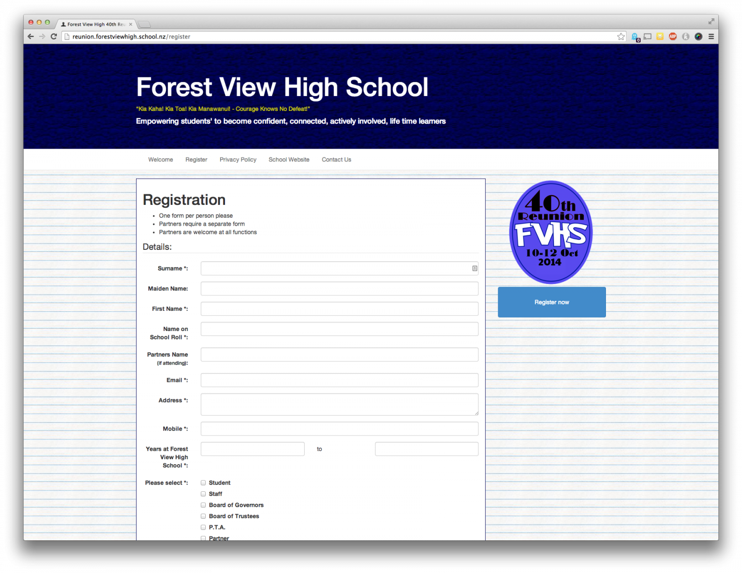 New Reunion Registration website for Forest View High School